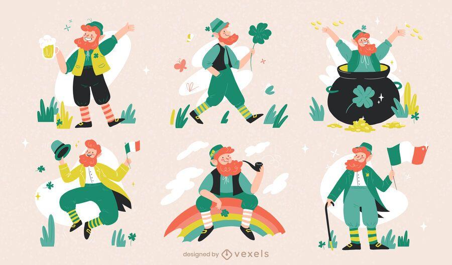 Conjunto de caracteres de duende de san patricio
