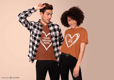 Diseño de maqueta de camiseta de pareja