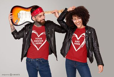 Rocker couple t-shirt mockup design