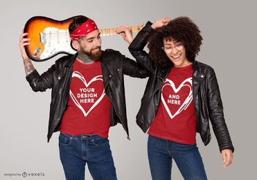 Diseño de maqueta de camiseta de pareja rockera
