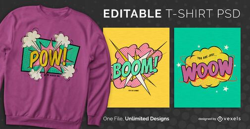 Comic bubble scalable t-shirt PSD