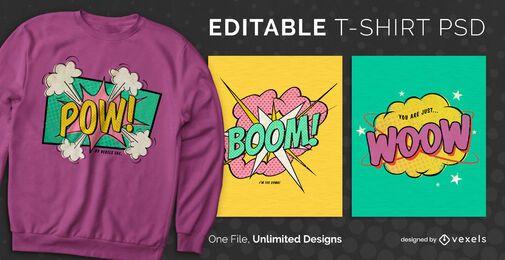 Comic bubble scalable t-shirt PSD
