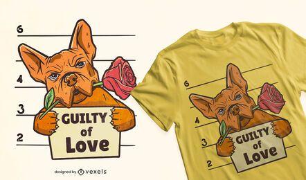 Diseño de camiseta culpable de amor