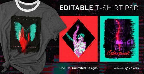 Duotone dupla exposição escalável t-shirt psd