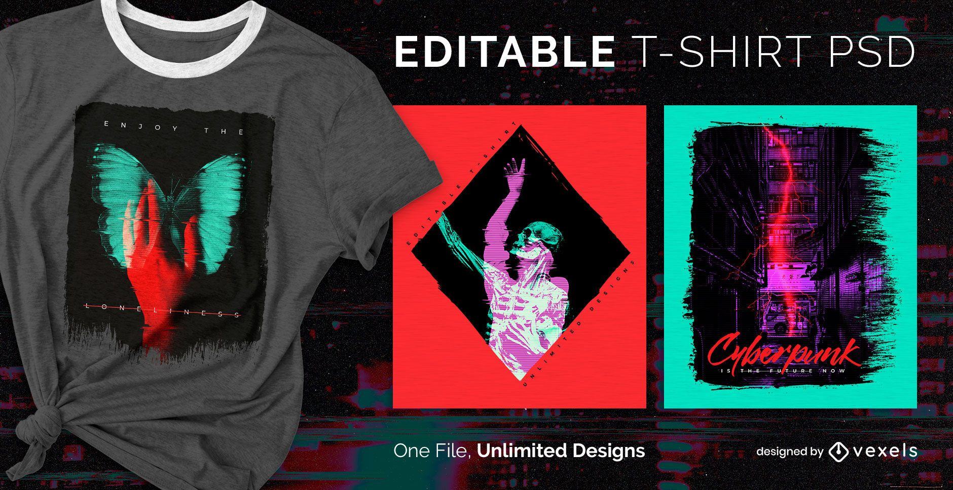 Duotone double exposure scalable t-shirt psd