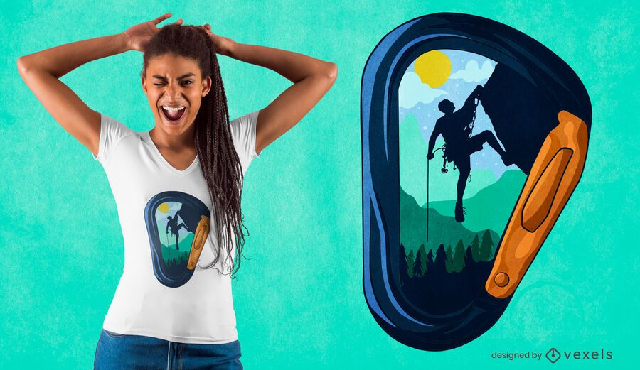 Diseño de camiseta de escalada con mosquetón.