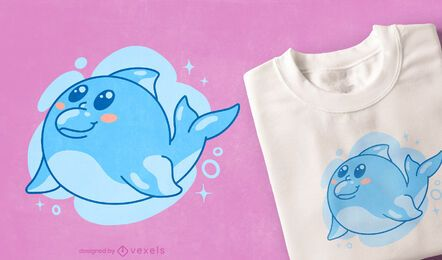 Kawaii dolphin t-shirt design