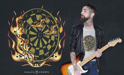 Flaming darts t-shirt design