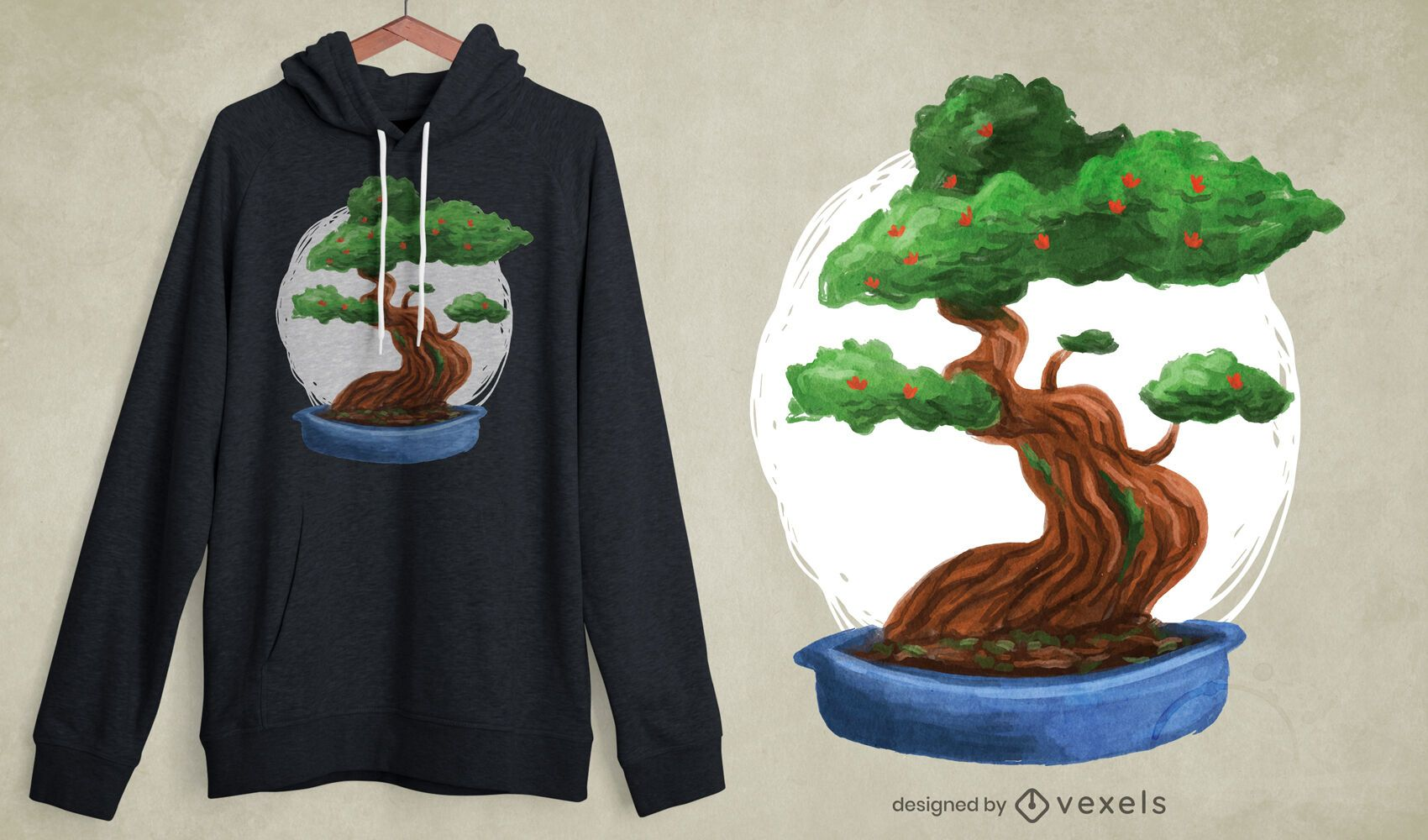 Design de t-shirt da árvore de bonsai