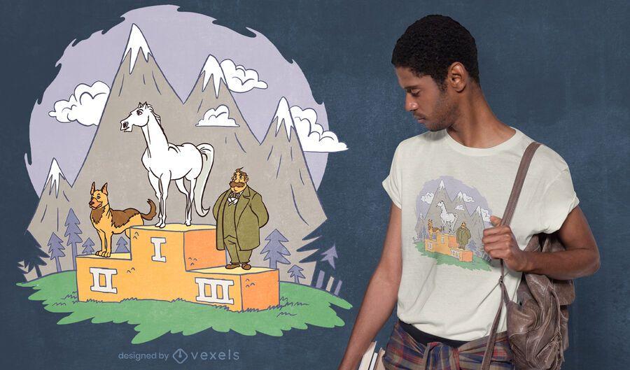 Diseño de camiseta animal podio.