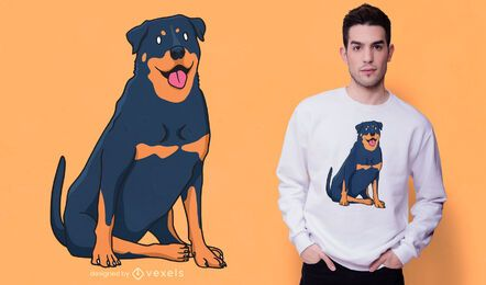 Diseño de camiseta de rottweiler sentado