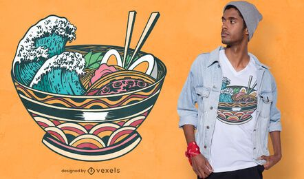 Design de t-shirt Wave Ramen