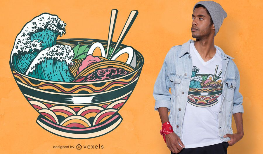 Diseño de camiseta wave ramen