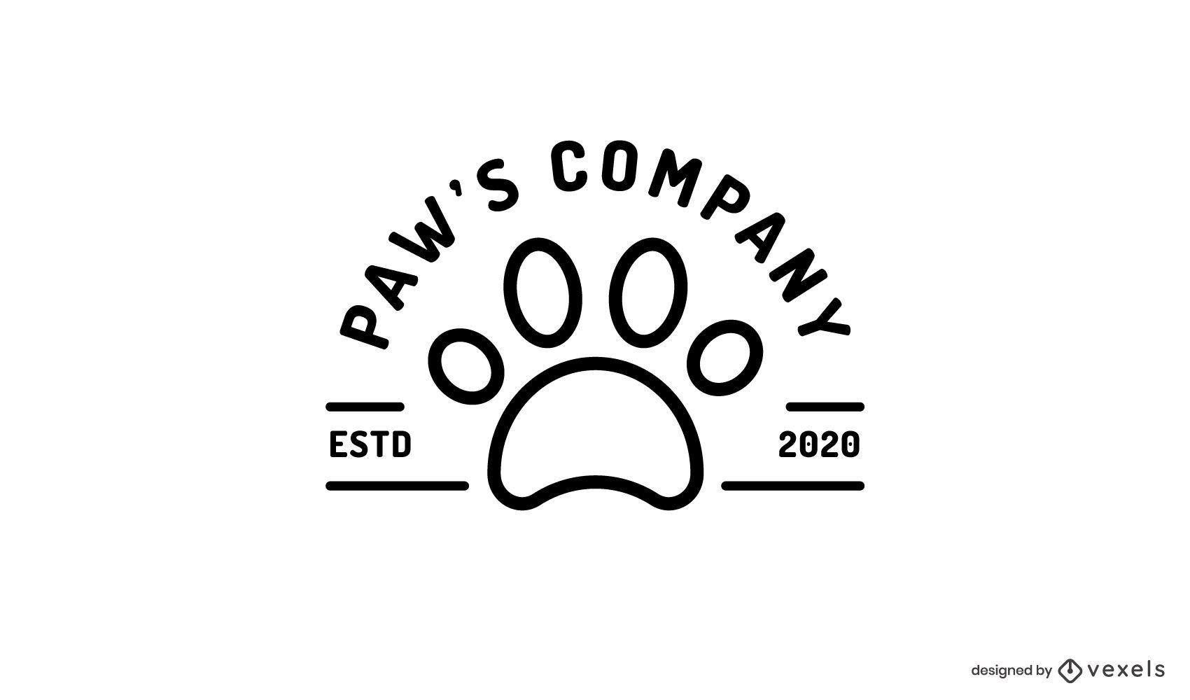 Modelo de logotipo de impressão de pata de gato