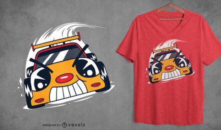 Design de camiseta de desenho animado de carro de corrida