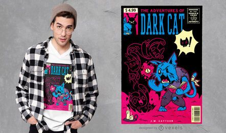 Adventures of dark cat t-shirt design