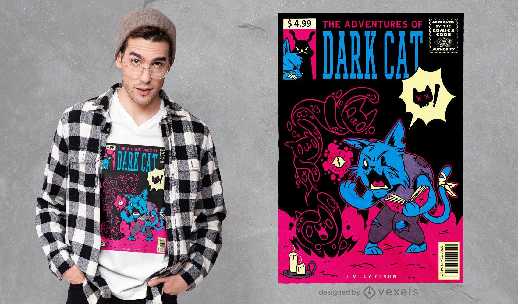 Aventuras de design de camiseta de gato escuro