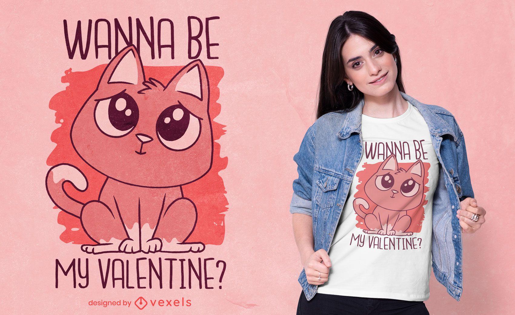 Wanna be my valentine t-shirt design