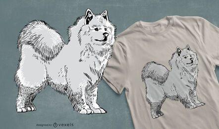 Diseño de camiseta de perro samoyedo.