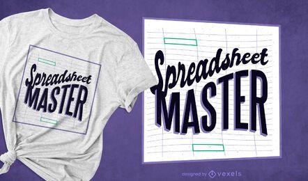 Design de t-shirt mestre de planilha