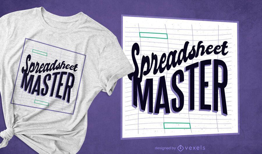 Diseño de camiseta maestra de hoja de cálculo