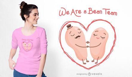 Design de camiseta da equipe de feijão