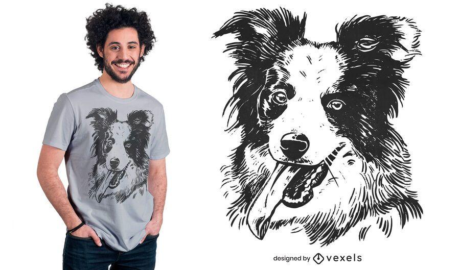 Design de camiseta para cachorro border collie