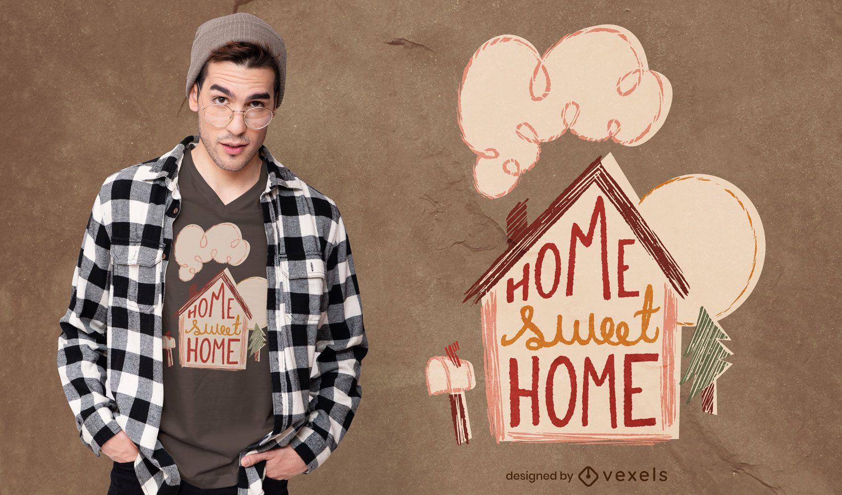 Dise?o de camiseta hogar dulce hogar