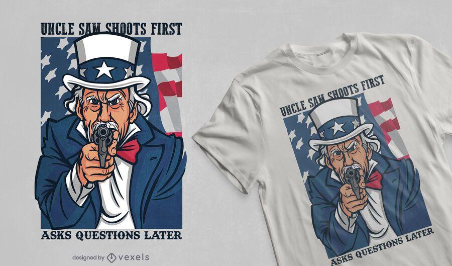 El tío sam dispara el diseño de la camiseta.