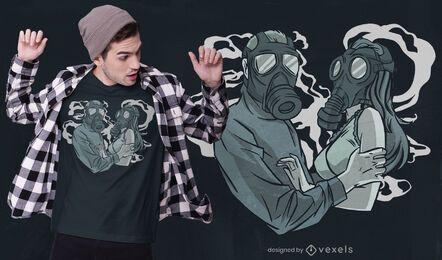 Design de t-shirt de máscara de amor