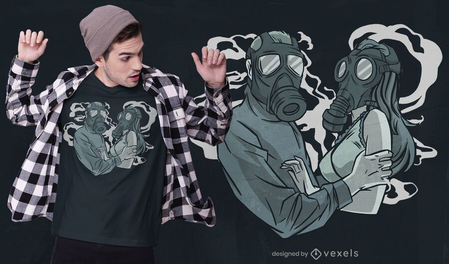 Diseño de camiseta love mask