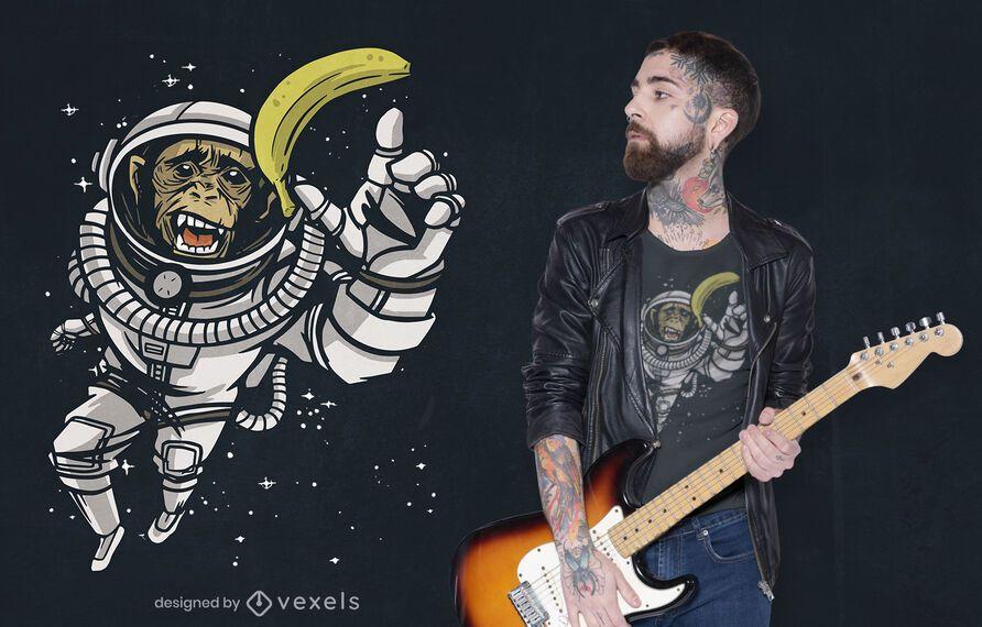 Design de camiseta para chimpanzé astronauta