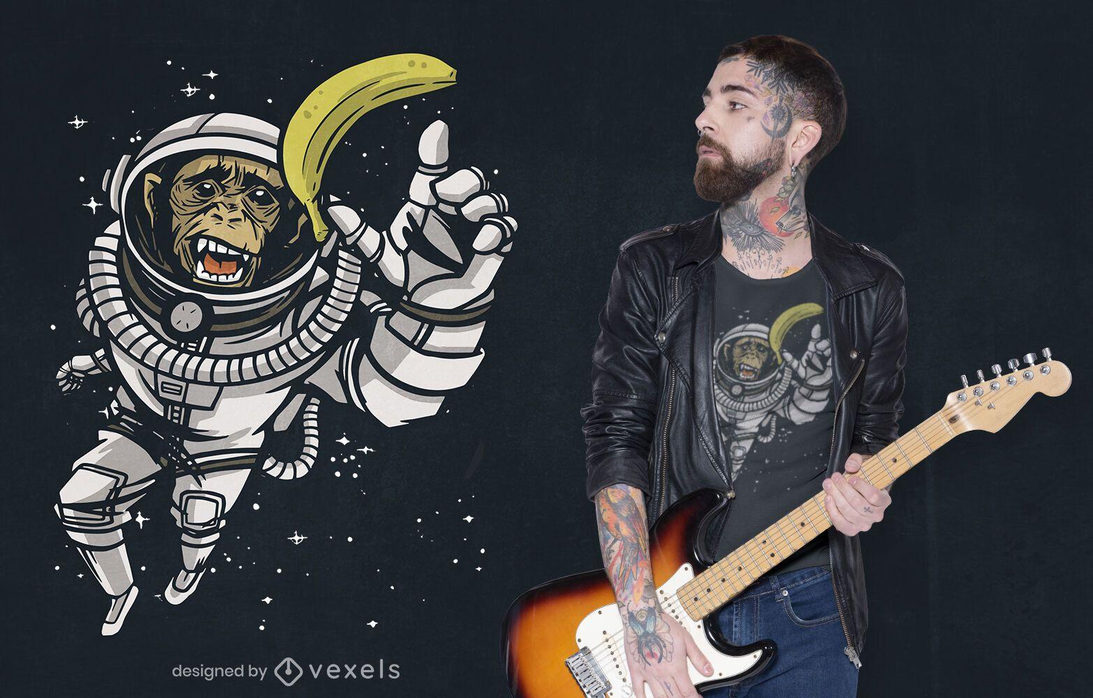 Diseño de camiseta de chimpancé astronauta.