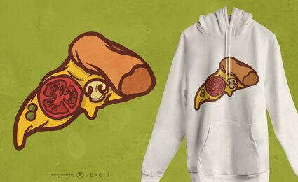 Design de t-shirt de comida fatia de pizza