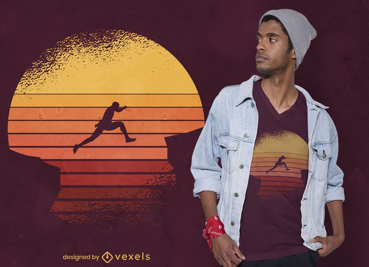 Retro-T-Shirt-Design des springenden Mannes