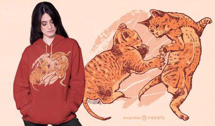 Verspieltes Kätzchen-T-Shirt Design
