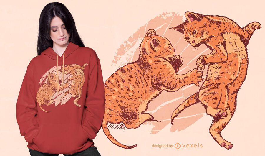 Diseño de camiseta de gatitos juguetones.