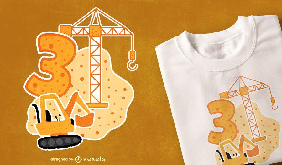 Design de t-shirt de construção de aniversário