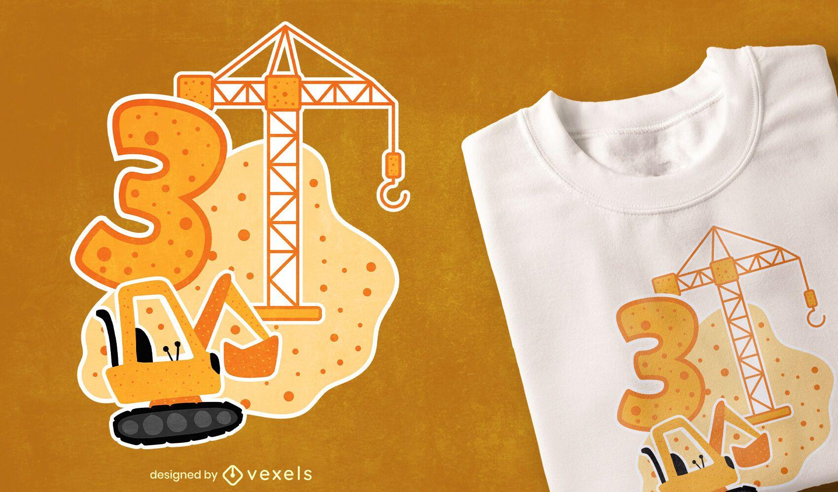 Diseño de camiseta de construcción de cumpleaños.