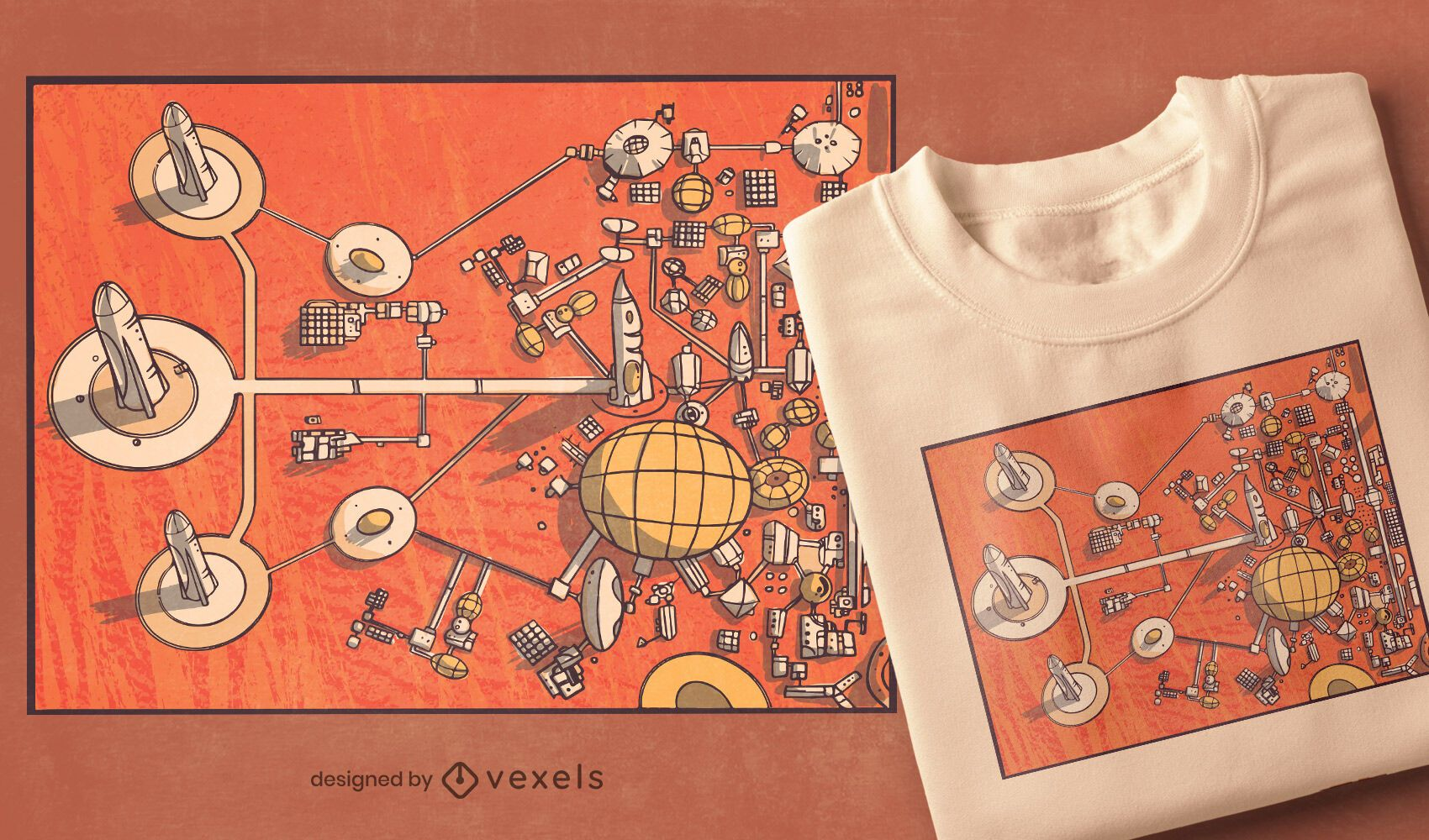 Mars city t-shirt design
