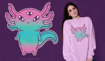 Design fofo de camiseta axolotl