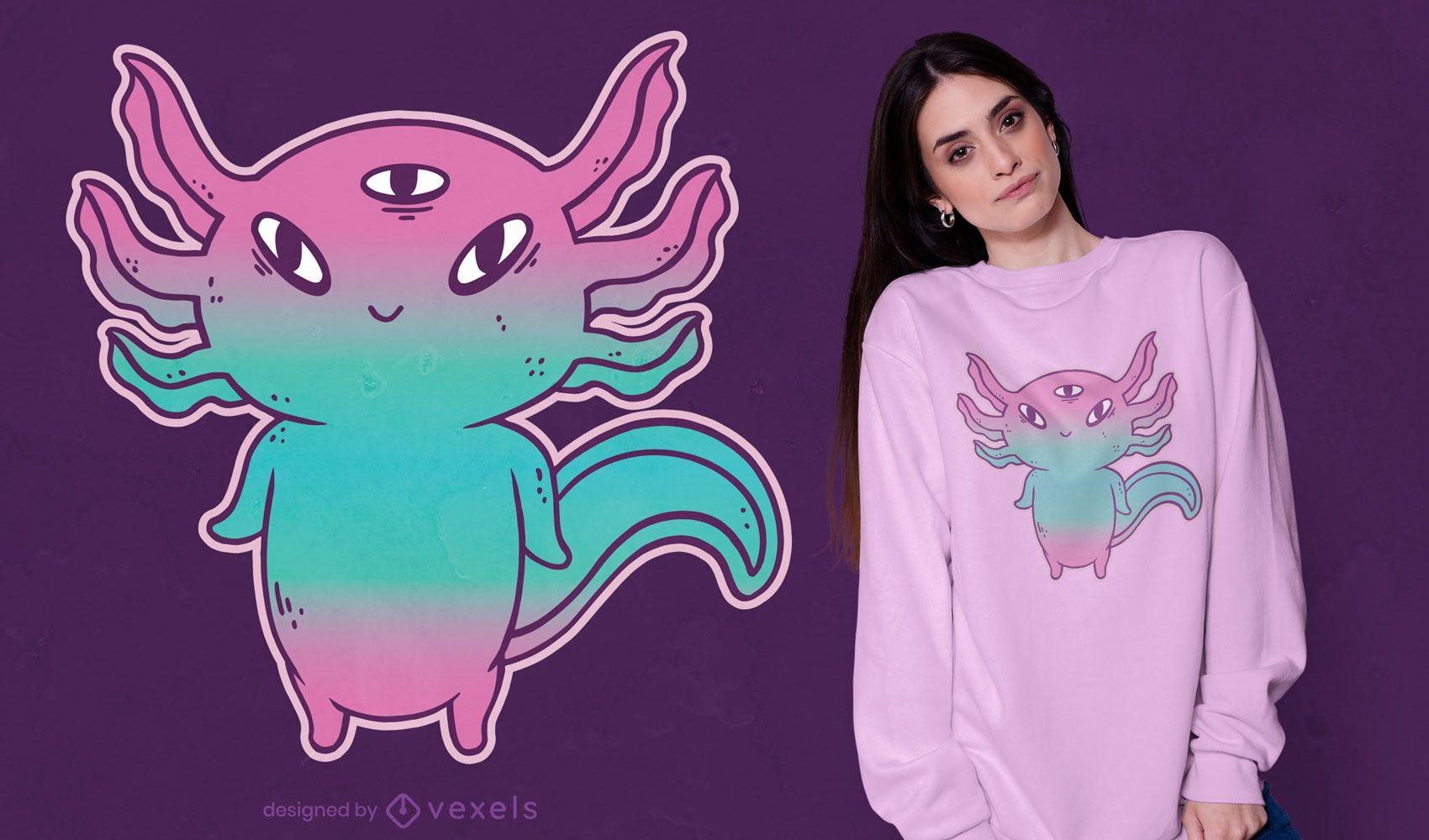 Lindo diseño de camiseta de axolotl