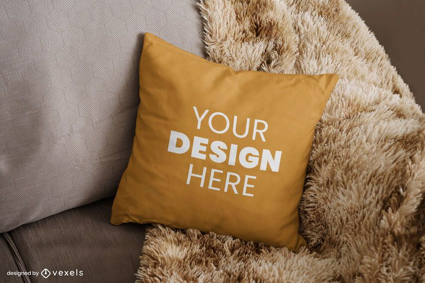 Throw pillow couch mockup design