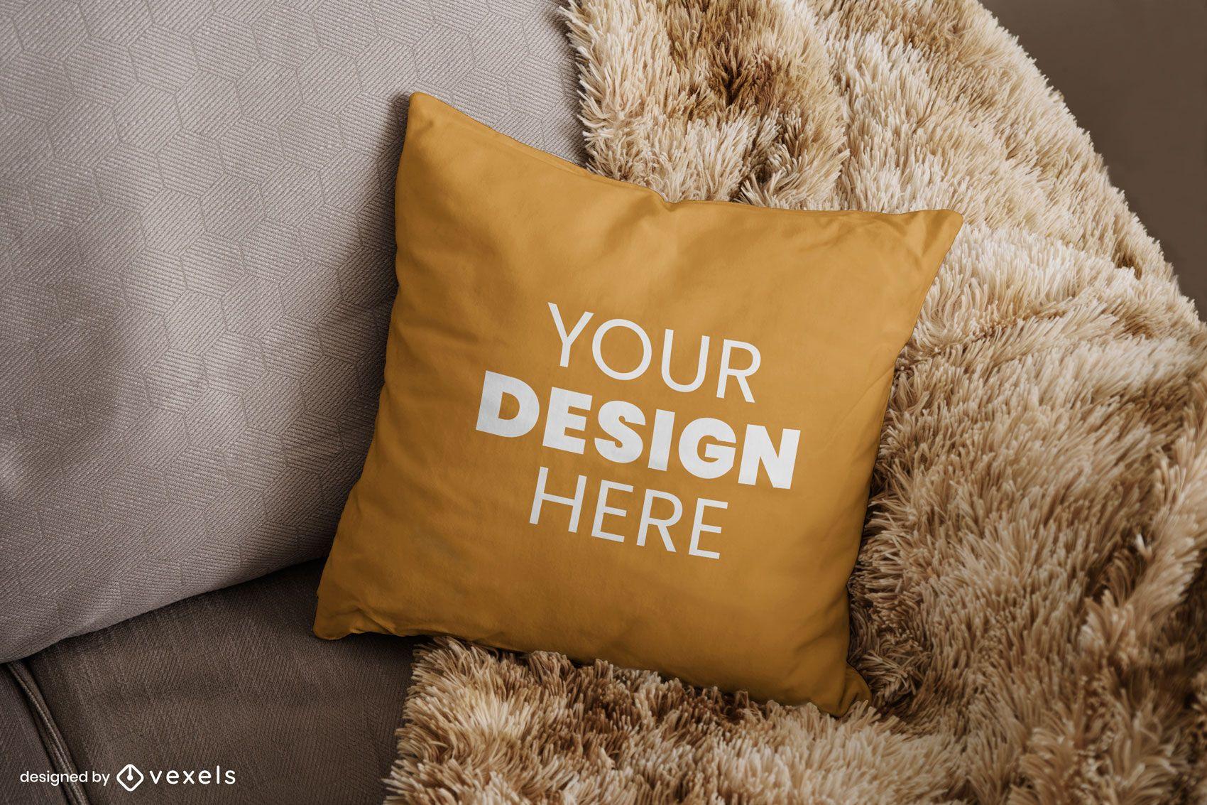 Dise?o de maqueta de sof? de almohada