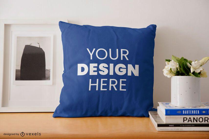 Throw pillow desk mockup design