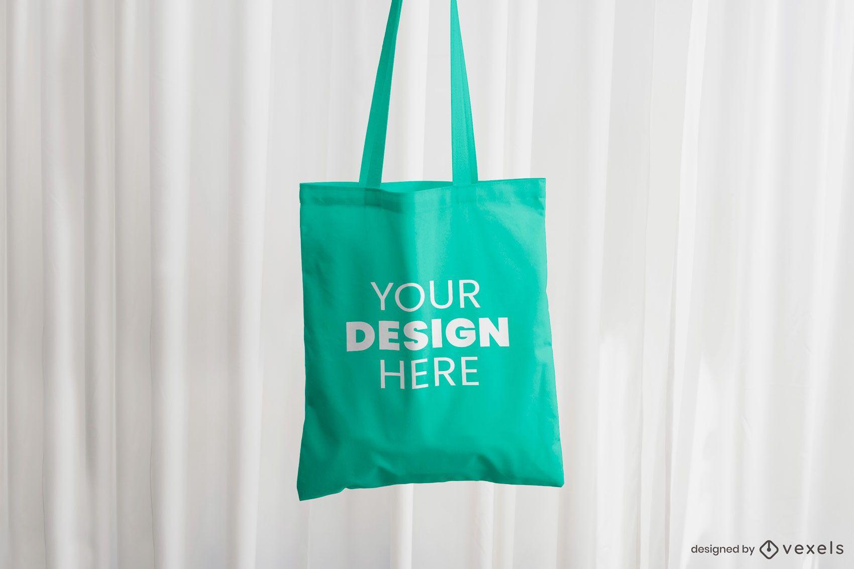 Hanging tote bag mockup design