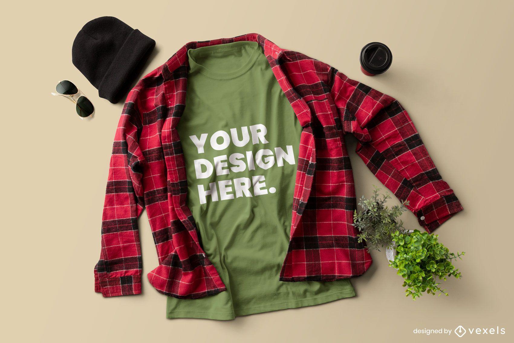 Diseño de maqueta de camiseta de camisa de franela