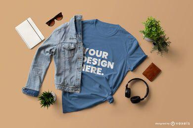Composição da maquete de camiseta jaqueta Jean
