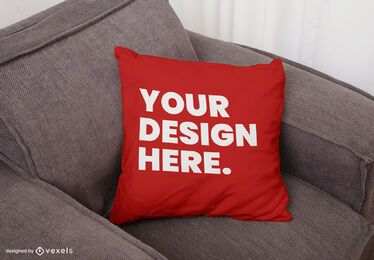 Throw pillow sofa mockup design