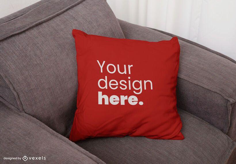 Diseño de maqueta de sofá de almohada de tiro